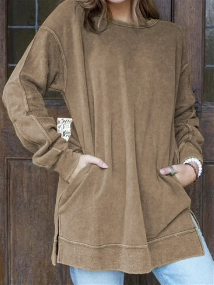 Relaxed Fit Round Neck Solid Color Pullover Pocket Shirt & Tops