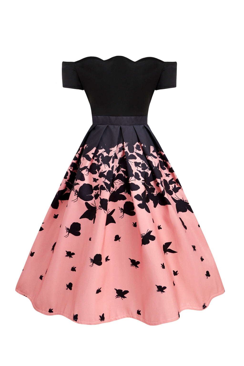 Black 1950s Butterfly Swing Dress