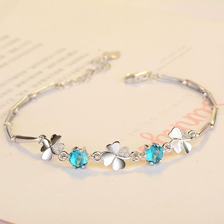 Real 925 Silver Crystal Lucky Clover Bracelet