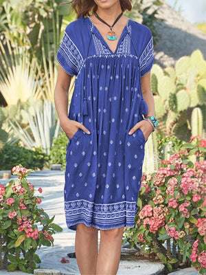 Printed Casual Short Sleeve Dresses