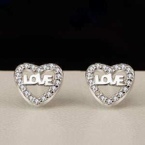 Genuine 925 Silver Love Heart Earing Studs For Women