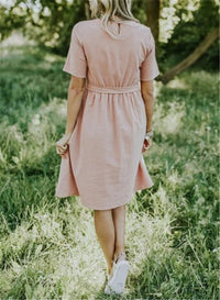 Women's Cotton Lace-Up Dress