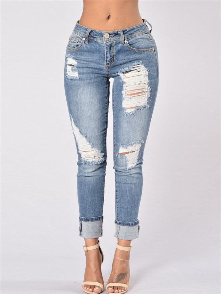 Stylish Mid-Rise Ripped Design Rolled Cuff Straight Leg Jeans