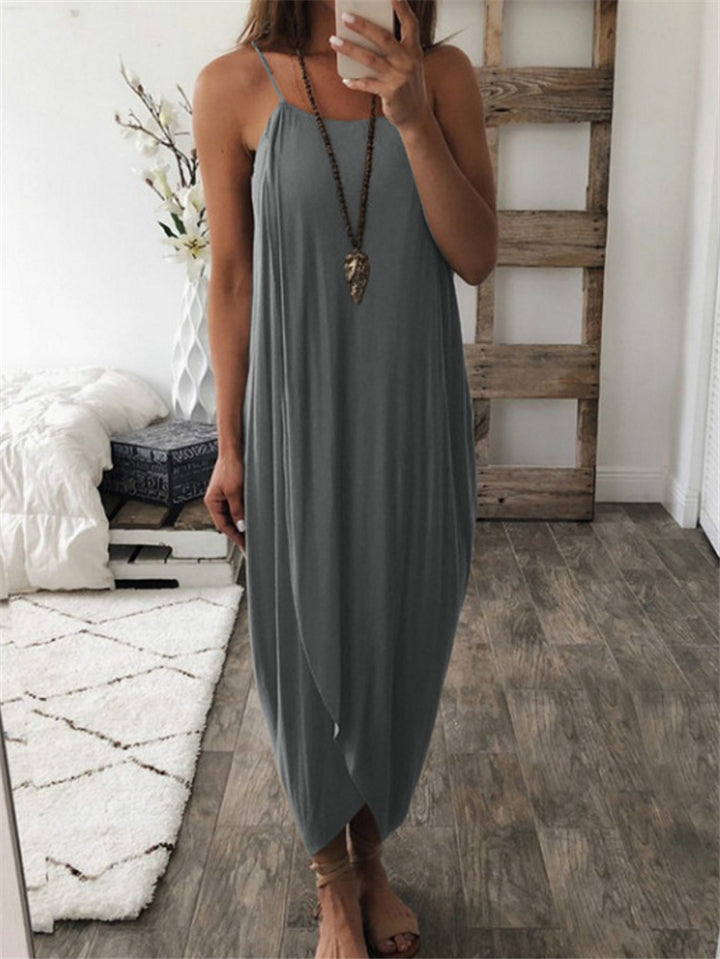 Loose Style Spaghetti Strap Wrapped Design Asymmetric Maxi Dress