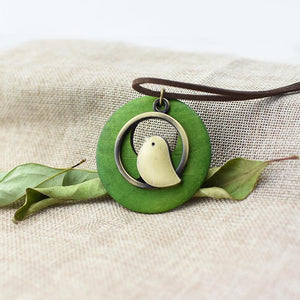 Beautiful Wooden Bird Pendant Leather Chain Necklace
