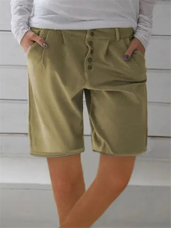 Women Summer Casual Straight Shorts Pants with Pockets