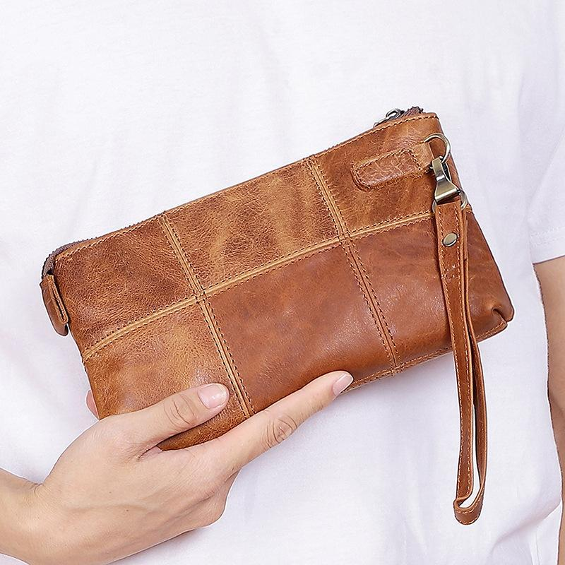 Men's Genuine Leather Patchwork Long Wallet