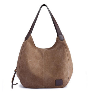Women's Canvas Three Layer Tote Bag Casual Vintage Handbag