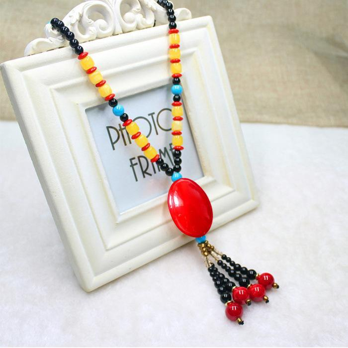 Women's Vintage Long Chain Beads Necklace