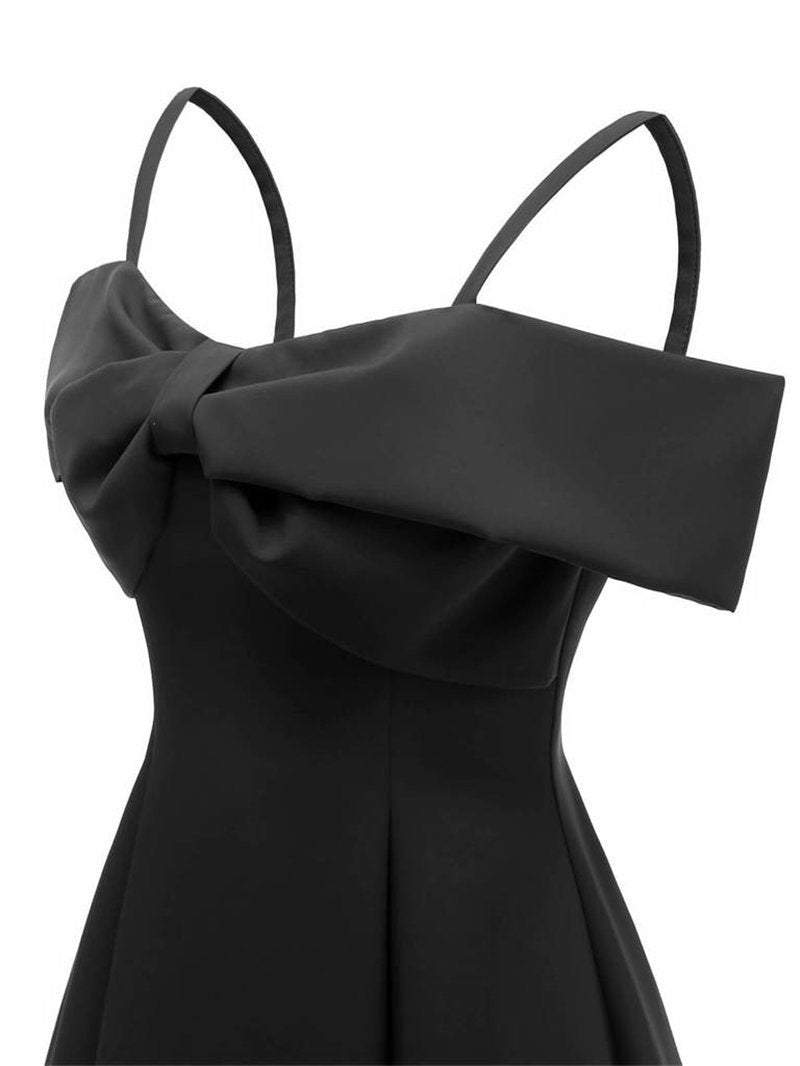 Solid Cold Shoulder Bow Dress