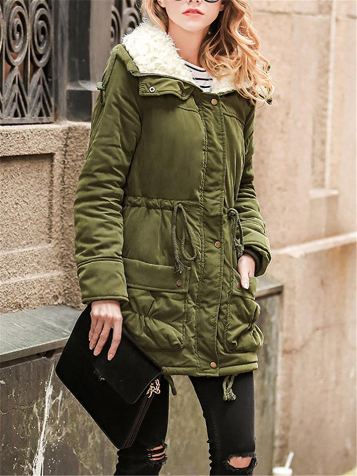 Zip Up Thickened Jacket Coat with Adjustable Waist Drawstring