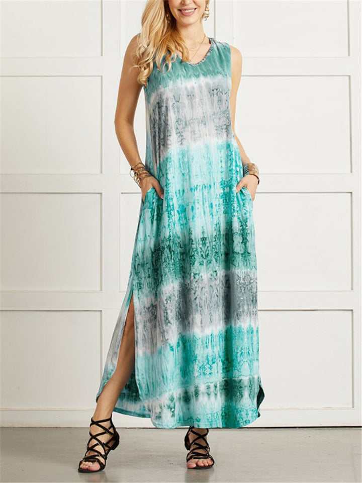 Womens Floral Printing Colorful V-Neck Casual Long Dress