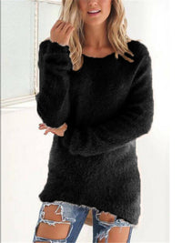Relaxed Fit Round Neck Fur Sweatshirt for Autumn
