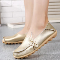 Women's Big Size Slip On Lace Up Soft Sole Flat Loafers