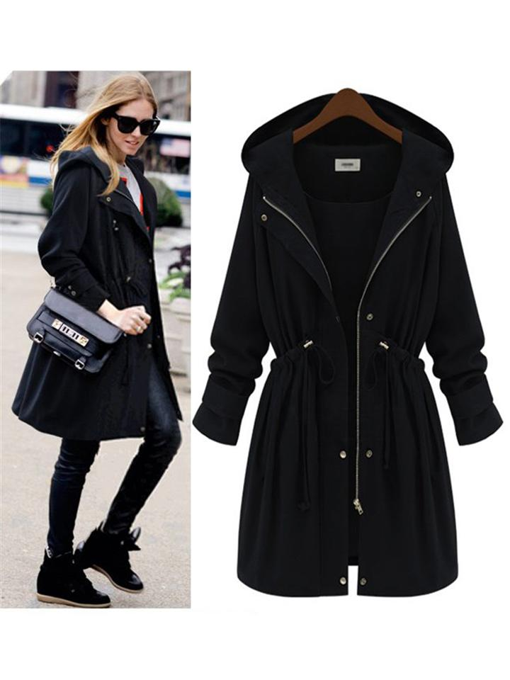 Midi Length Slim Fit Zip-Up Waist Drawstring Hooded Trench Coat