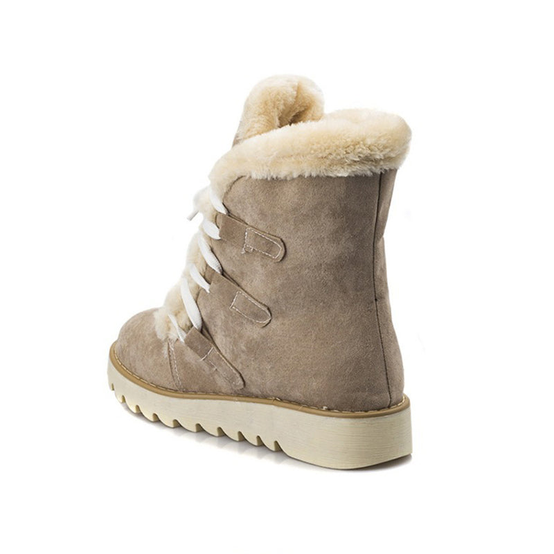 Ultra Cozy Warm Round Toe Fur Lining Lace Up Flat Snow Boots