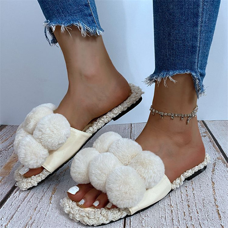 Stylish Contrasting Plush Open-Toe Flat Sandals