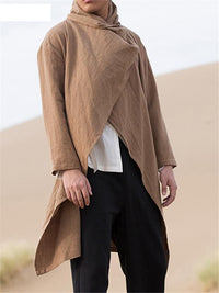 Mens Trending Solid Color Irregular Long Sleeve Cardigans