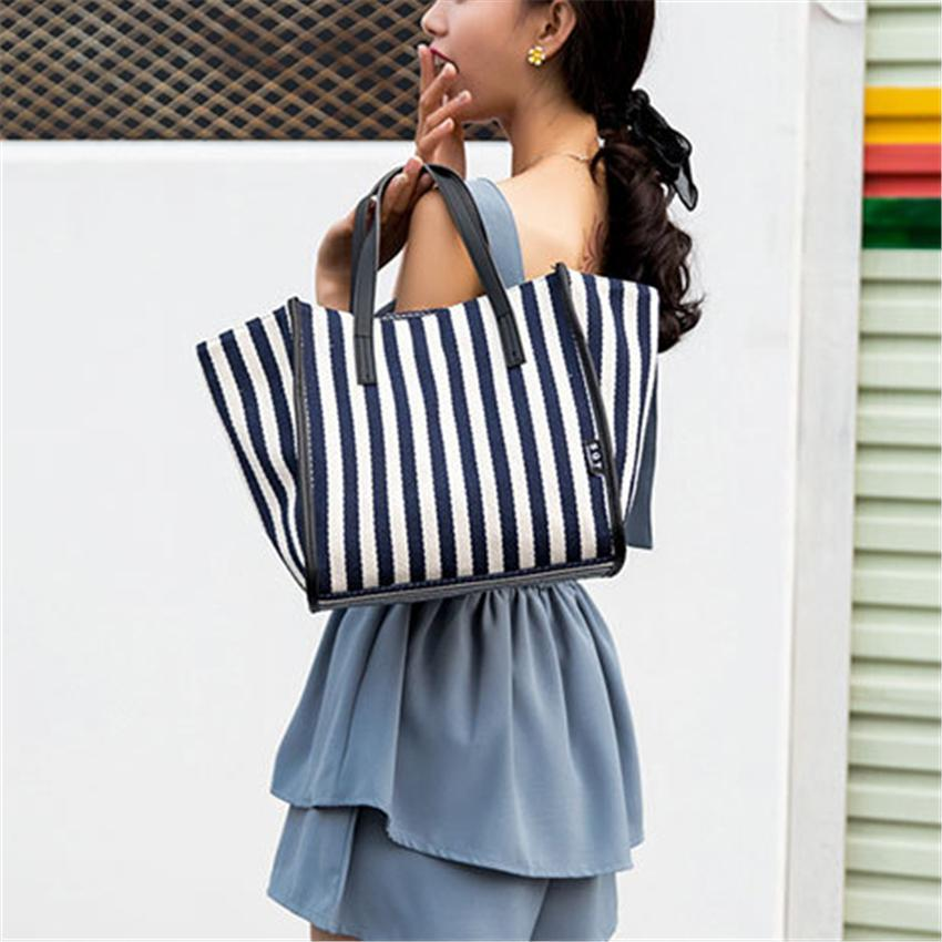 New Fashion Striped Canvas Bag Shoulder Bags Handbag Crossbody Bag