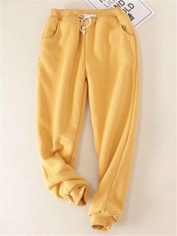 Women's Solid Fleeced Cotton Pants