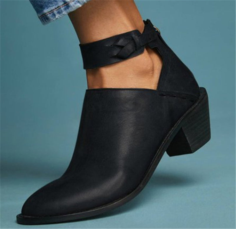 Women's Plus Size Chunky Heel Daily Zipper Booties