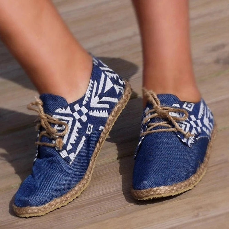 Women's Vintage Lace-Up Blue Cloth Espadrille Loafers Shoes