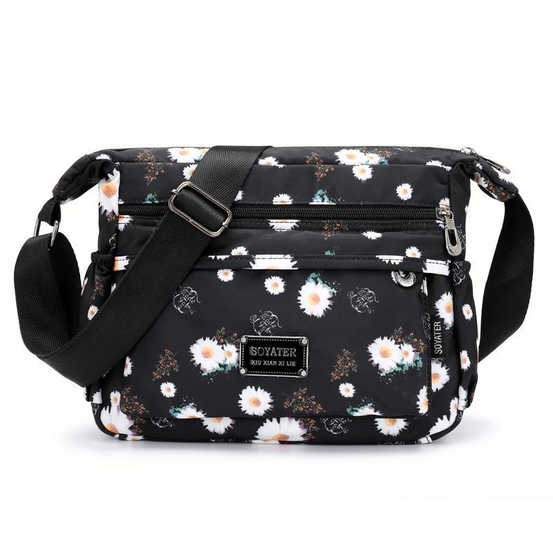 Flower Pattern Multipockets Casual Shoulder Bag