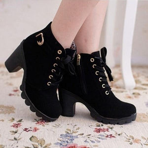 Women's High Heel Lace Up Buckle Ankle Pumps