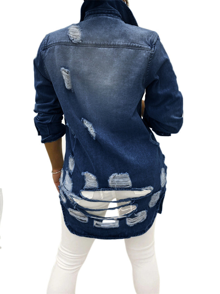 Fashionable Chest Pocket Lapel Collar Ripped Design Denim Coat
