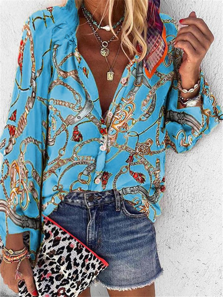 Casual Chain Print Front Button Long Sleeve Blouse