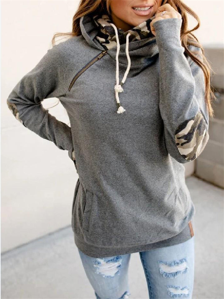 Casual Fit Front Pouch Pocket Zipper Drawstring Hooded Sweatshirt