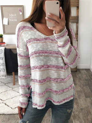 Autumn Loose V-neck Striped Sweaters