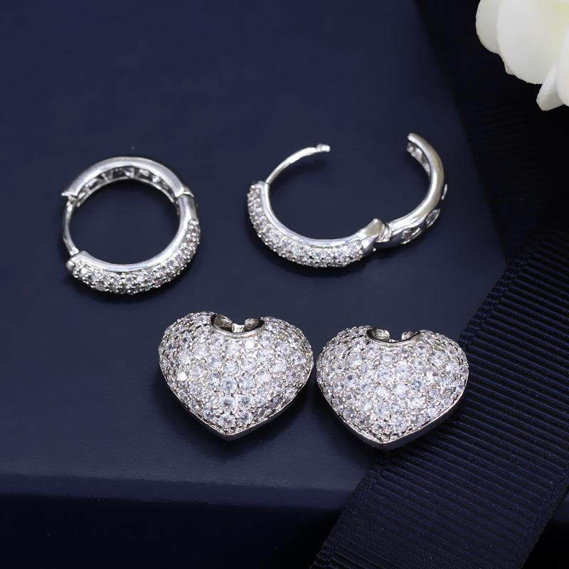 Women's Cute Heart Shaped Zirconia Earrings