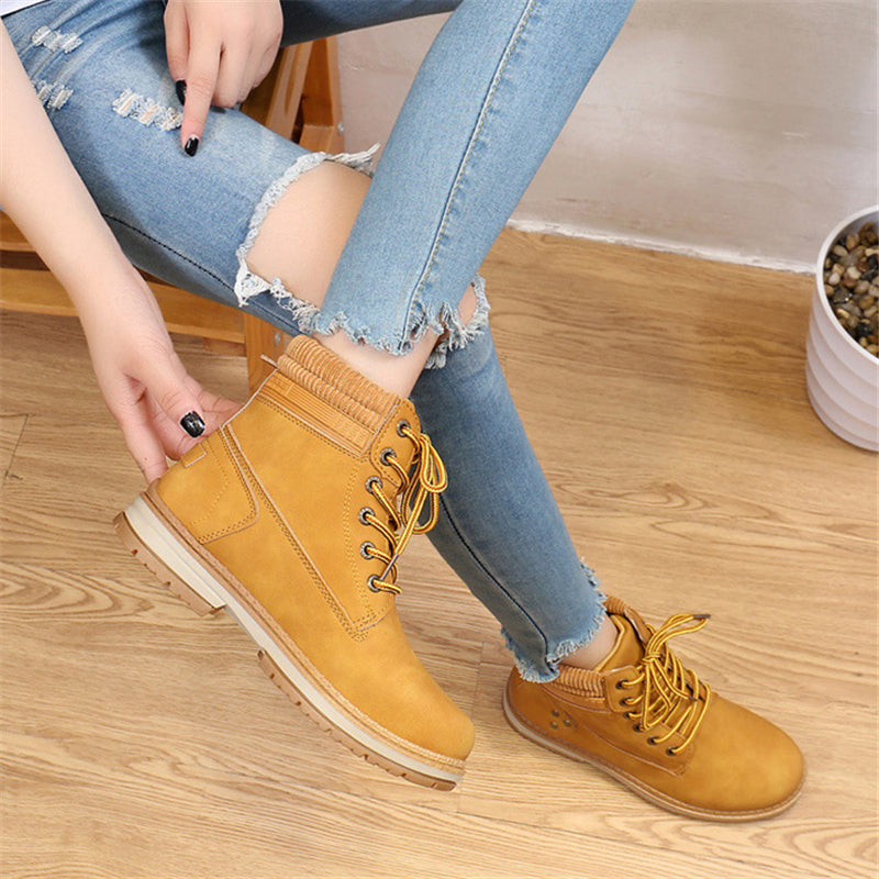 Ultra Warm Waterproof Non-Slip Fur Lining Lace Up Flat Ankle Boots
