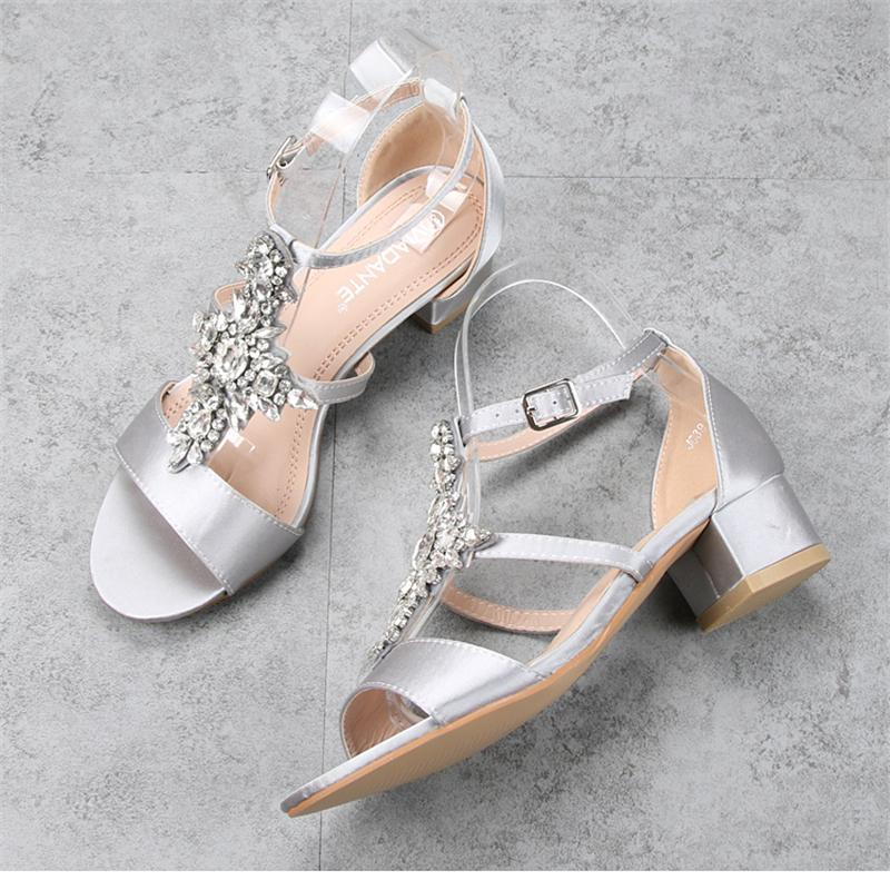 Sexy Satin Chunky Heel Sandals