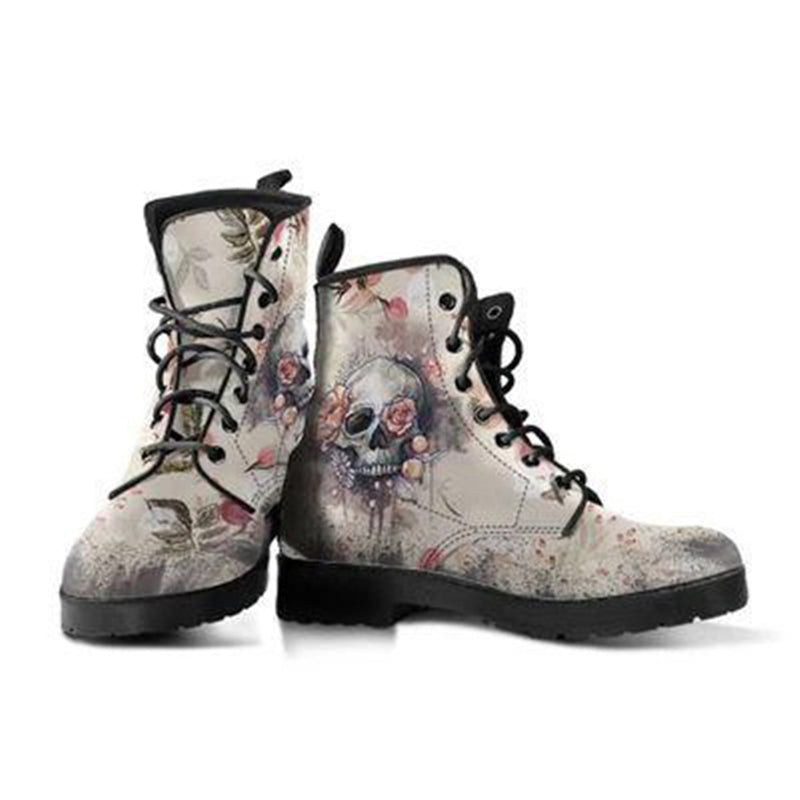 Women's Stylish Printed Low Heel Lace Up Ankle Boots