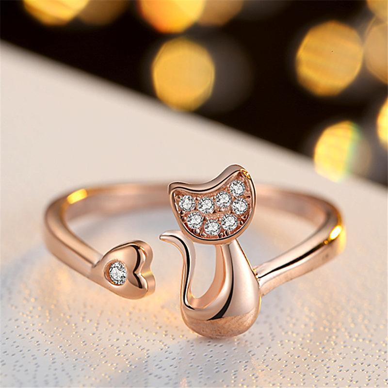 Cute Cat Zircon Stone Adjustable Open Rings