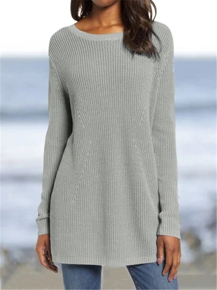 Casual Fit Round Neck Solid Color Ribbed Knit Basic Sweater