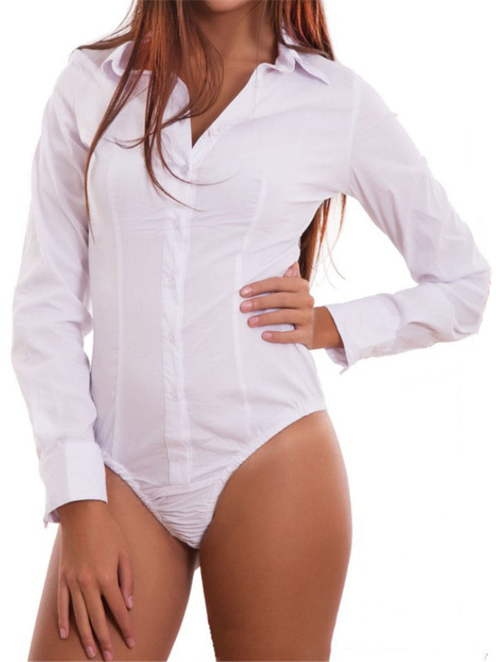 Stylish Lapel Collar Long Sleeve Solid Color Button Up Shirt Bodysuit