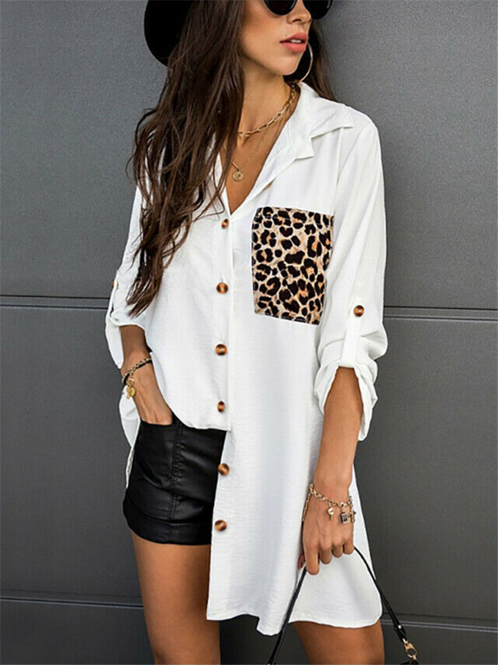Relaxed Fit Lapel Collar Leopard Chest Pocket Button Up Blouse