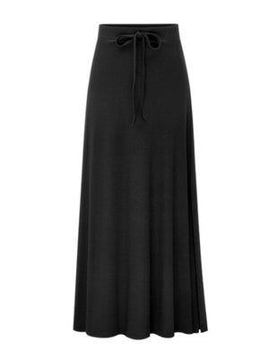 High-Waisted Adjustable Front Drawstring Long Slit Skirt