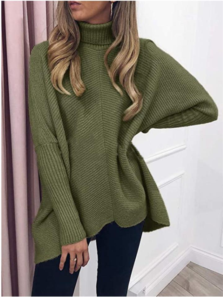 Relaxed Fit Turtleneck Pullover Ribbed Knit Sweater