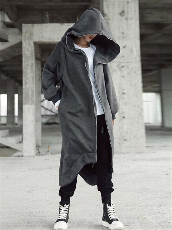 Maxi Length Hooded Trench Coat With Irregular Hem