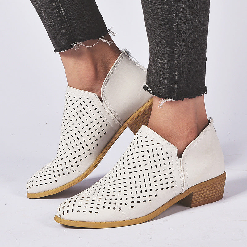 Stylish Comfortable Hollow Out Mid Heel Shoes