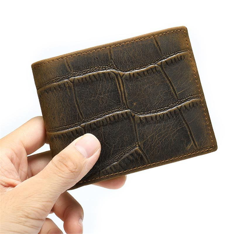 Men's Casual Durable Alligator Pattern Bifold Short Wallet