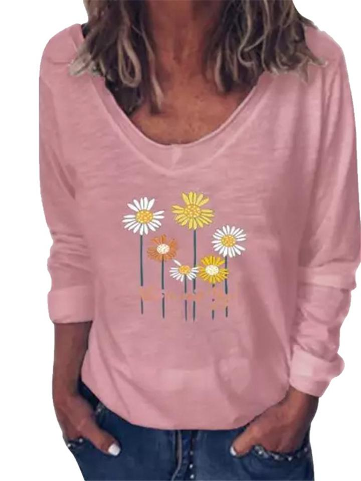 Pretty Floral Print Round Neck Long Sleeve Shirt