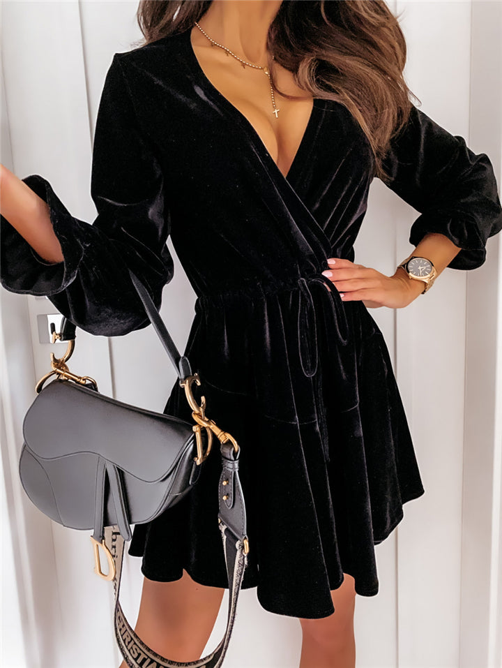 Trendy Wrap V Neck Waist Drawstring Long Sleeve Velvet Mini Dress