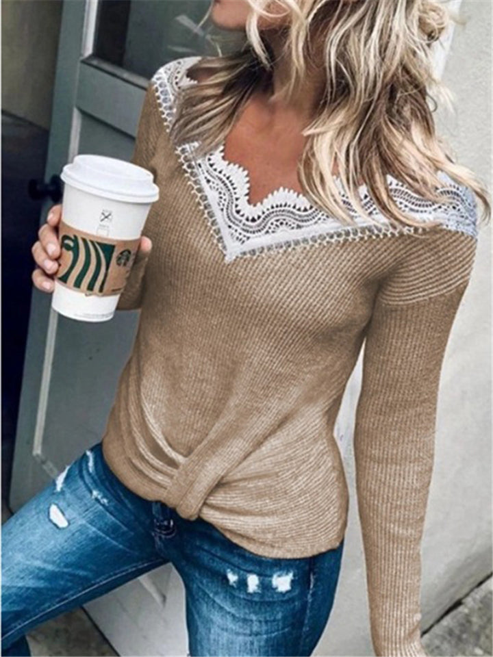 Fashion Lace Splice V Neck Solid Color Long Sleeve Sweaters