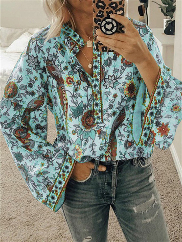 Loose Fit Front Button Up Floral Printed Long Sleeve Blouse