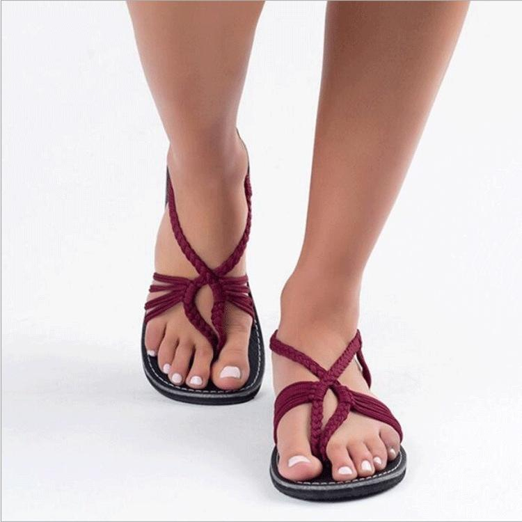 Women's Knitted Fabric Breathable Beach Flat Sandals